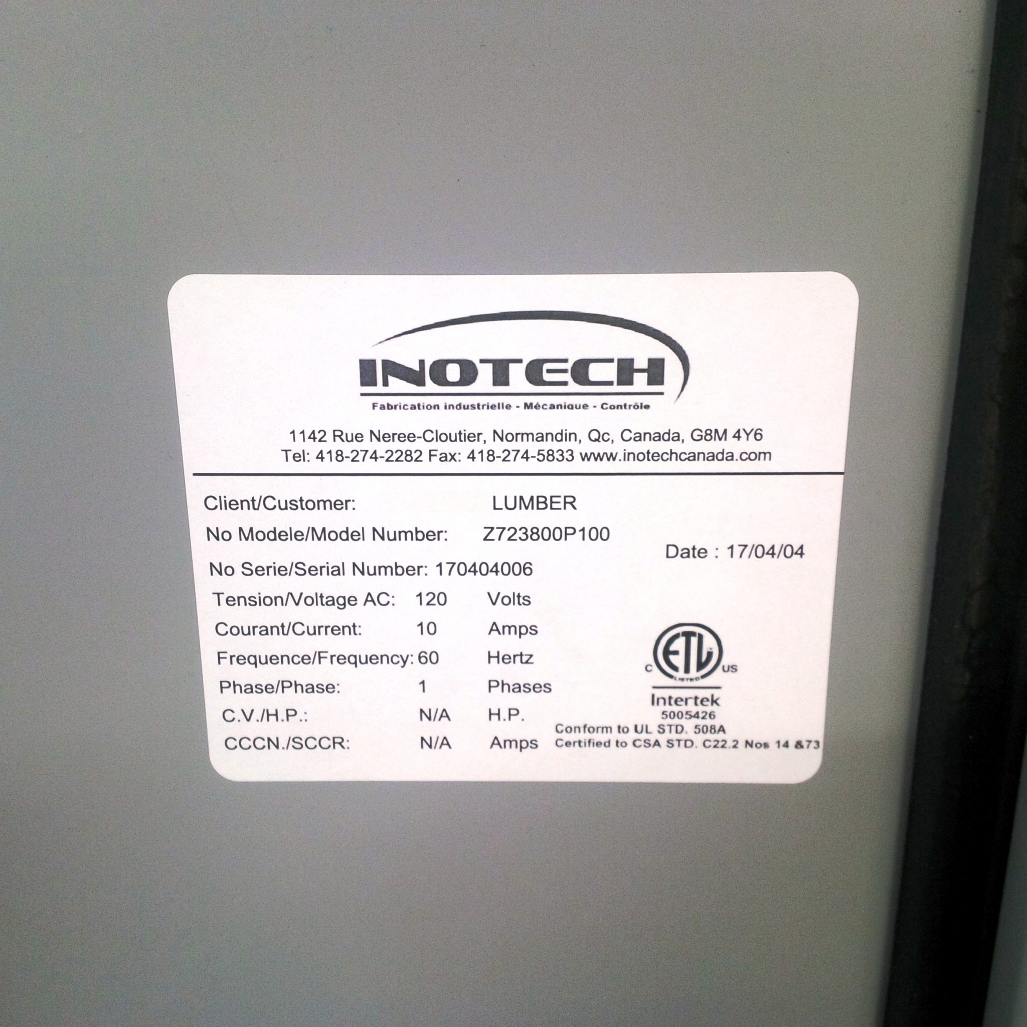 Control panels manufacturing - Inotech Canada inc